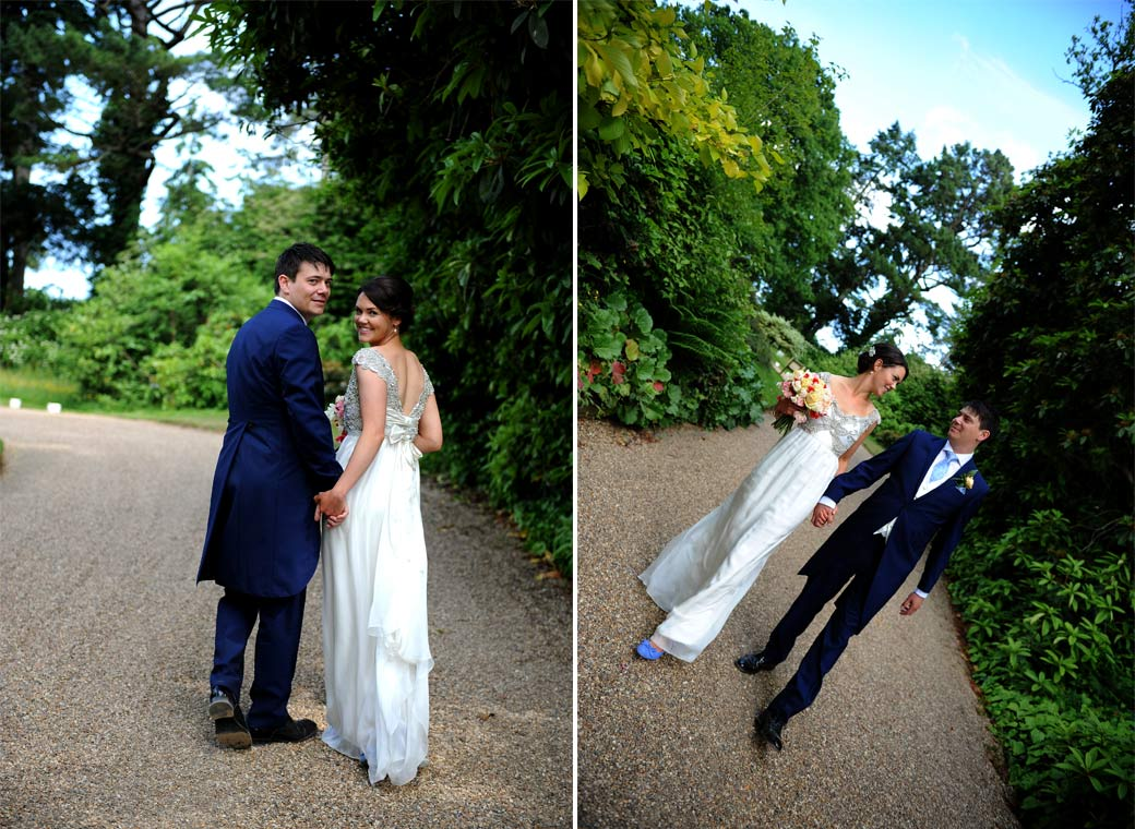 Smiling happy couple captured in these two wedding photographs as they leave and return along the long picturesque drive in the grounds of Surrey wedding venue Ramster Hall