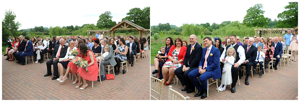 Families from the Bride and Groom's sides enjoying the marriage ceremony out at the lovely outdoor Waterside venue at the Reigate Hill Golf Club wedding venue in Surrey