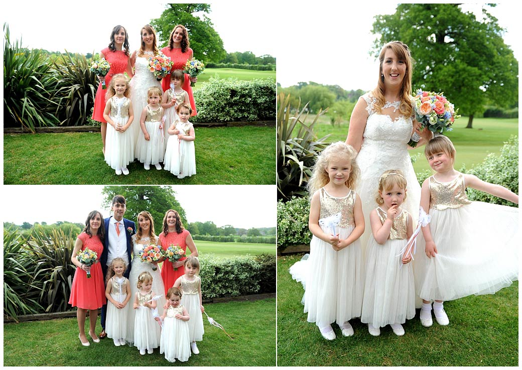 Cute and colourful Bride and Bridesmaids wedding pictures captured at Surrey wedding venue Reigate Hill Golf Club out on the grass and patio area