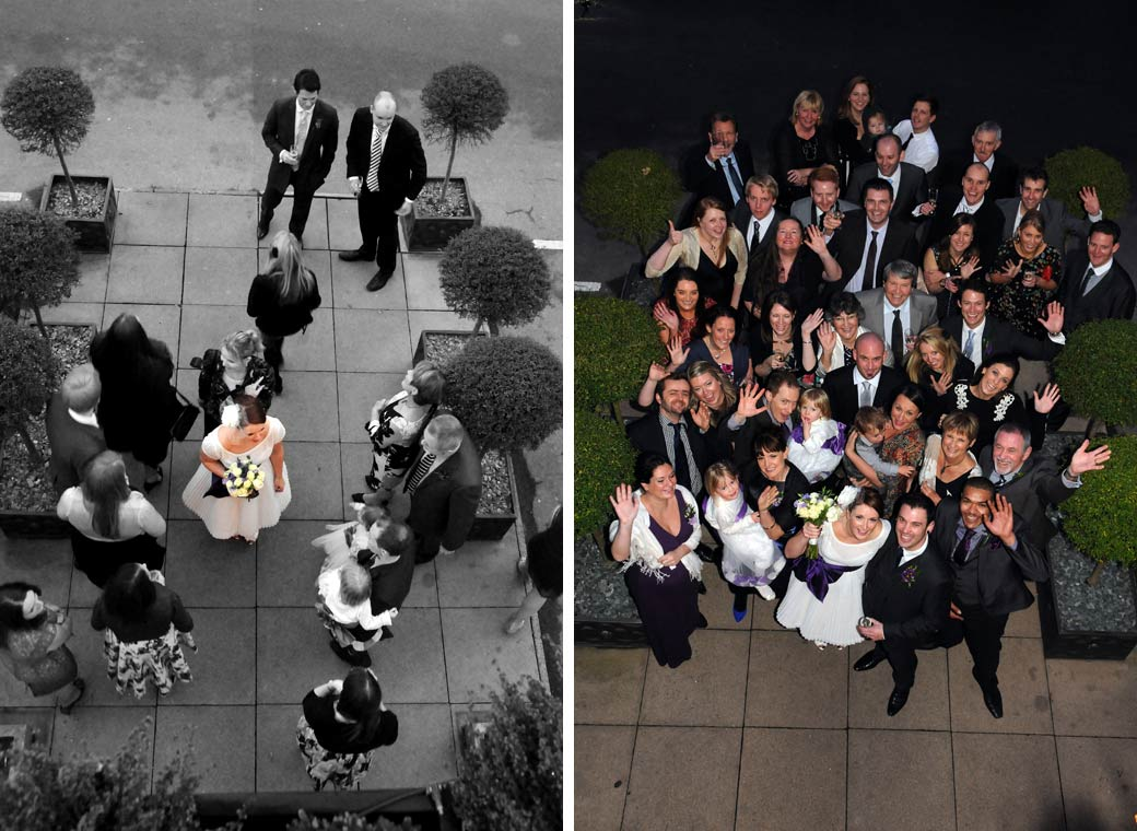 Two pictures of the bride being joined by everyone at the wedding for a  group shot outside Richmond Gate Hotel in Richmond