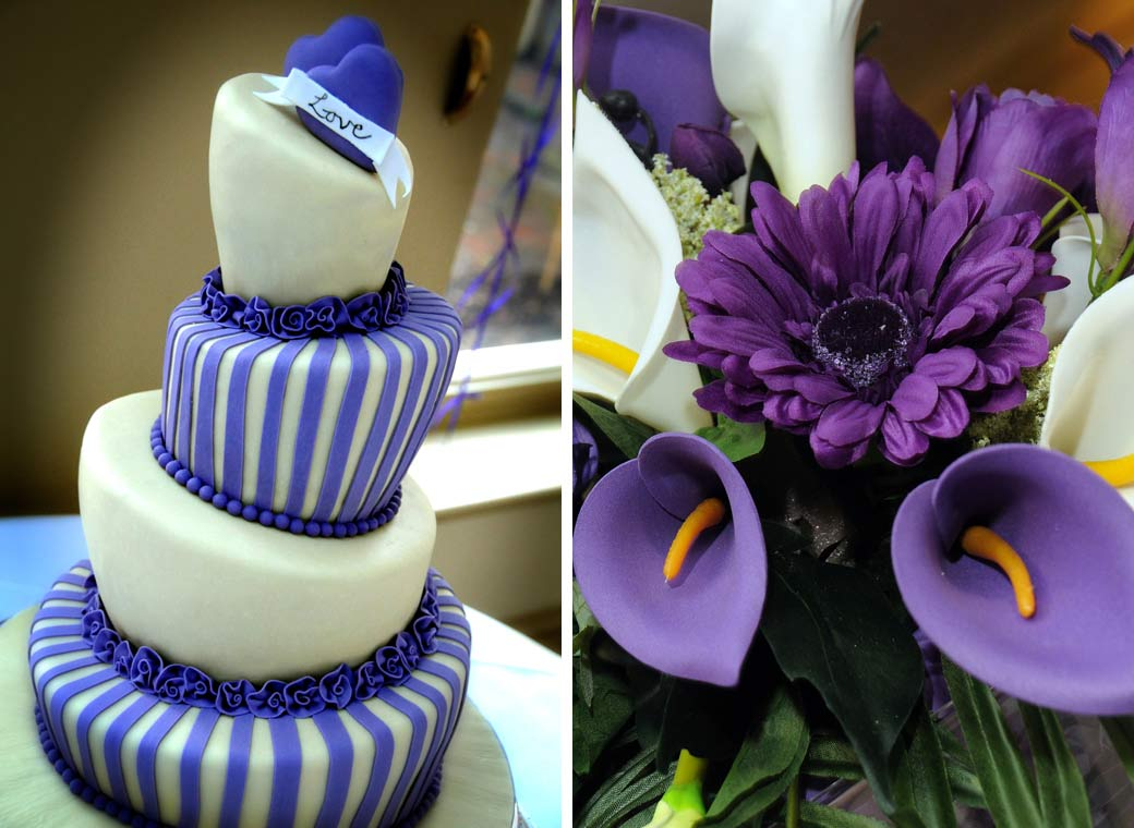 Eye-catching topsy blue wedding cake with purple bouquet wedding photographs taken by Surrey Lane wedding photography at Richmond Gate Hotel