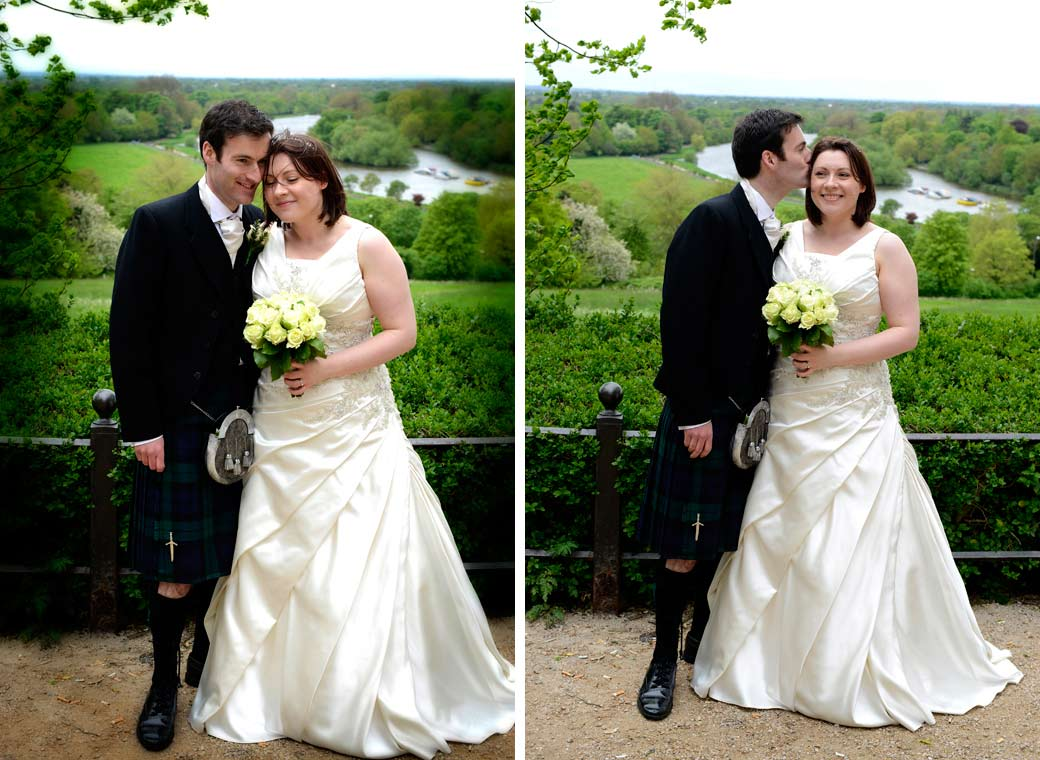 Two very happy Bride and Groom head against head wedding photos with a fabulous view taken at Richmond Gate Hotel Surrey