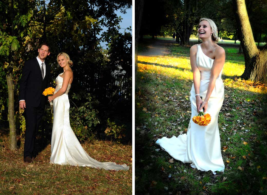 Two lovely shots of the bride happily posing with her yellow bouquet in Richmond Park after getting married at Richmond Register Office