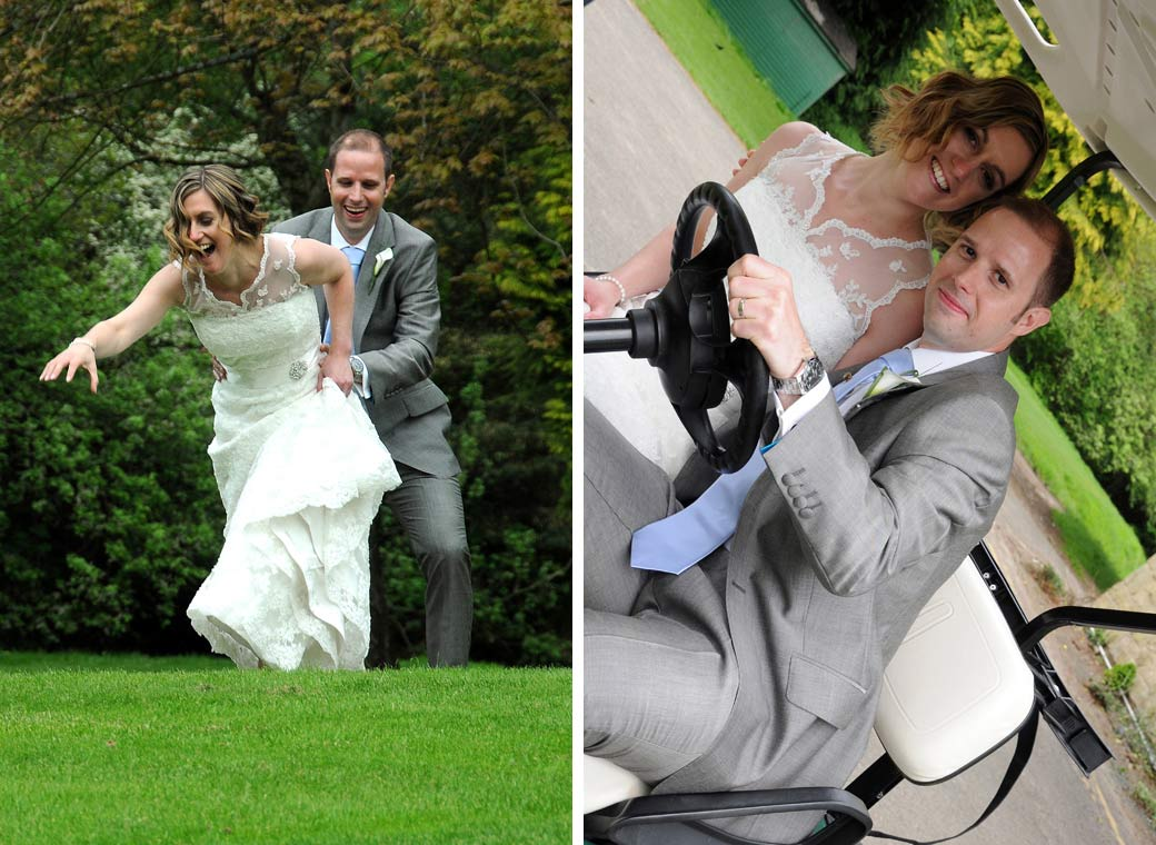 Lovely couple of wedding pictures of the Bride and Groom having fun in a golf cart and on the lawn at the Selsdon Park Hotel wedding venue in Croydon