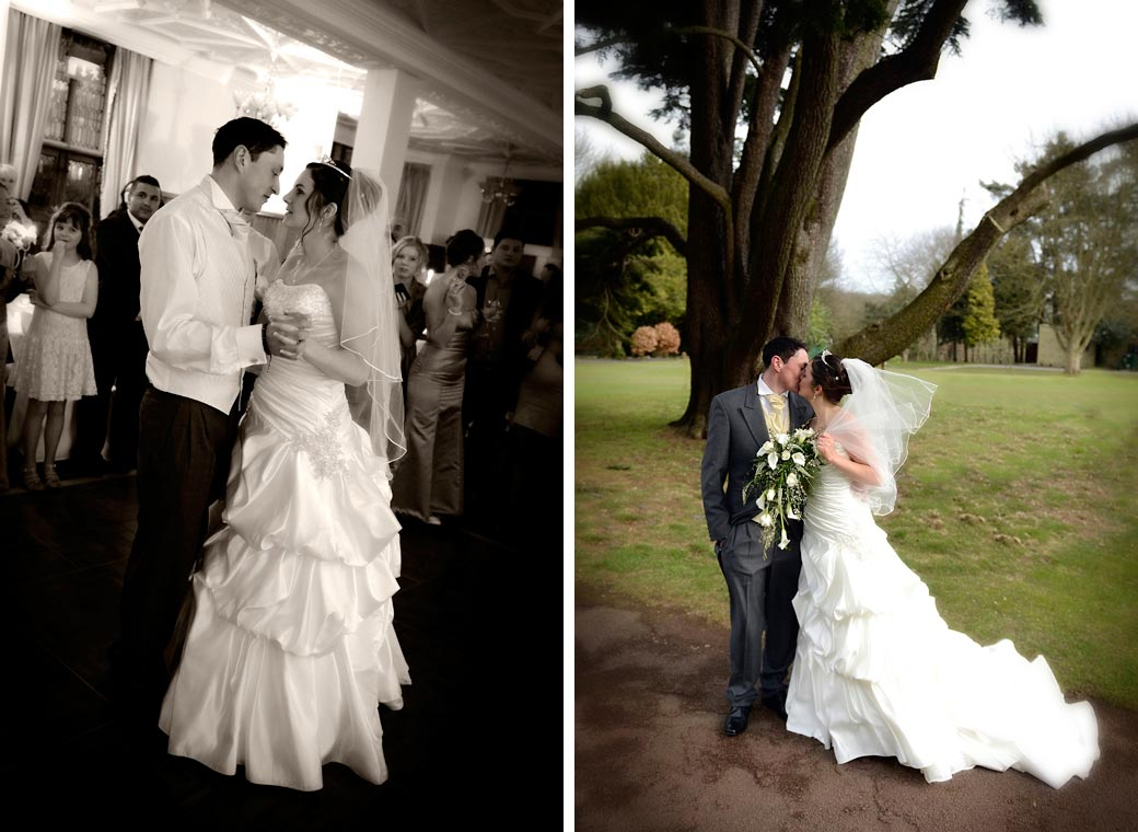 Romantic  wedding couple pictures of having a kiss under a tree and of the first dance at Selsdon Park Hotel Croydon Surrey wedding venue