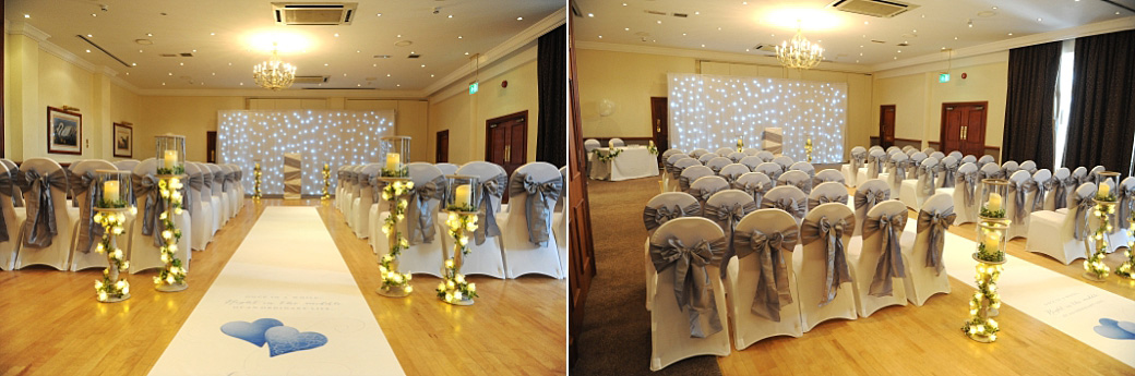 The Thames Suite dressed with grey sash chairs, candles and spotlights at the welcoming Great Western Ship Hotel in Weybridge Surrey ready for the arrival of the wedding guests