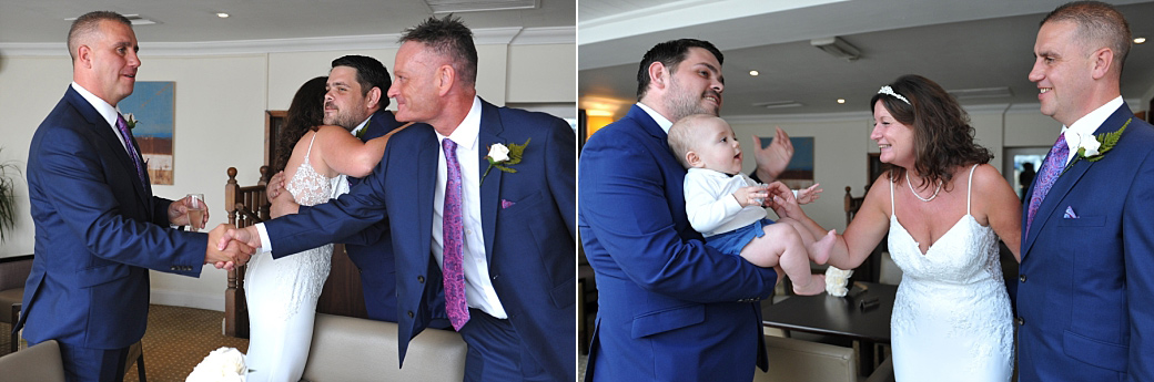 Smiles and congratulations captured in these wedding pictures taken just after the marriage ceremony at the welcoming Ship Hotel in Weybridge Surrey