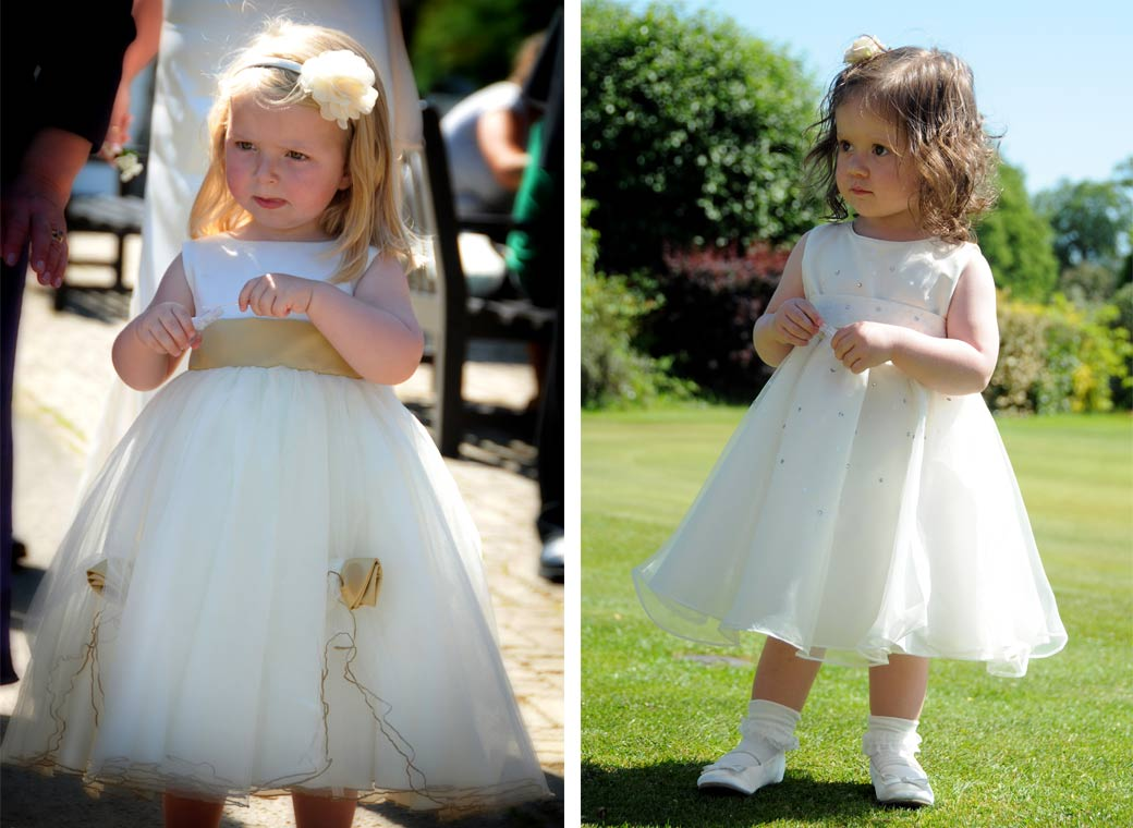Two cute sweet little Bridesmaids in their lovely dresses wedding photographs taken at Shirley Park Golf Club by Surrey Lane wedding photography