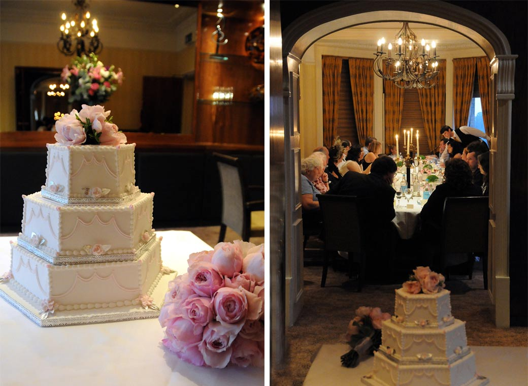 Two atmospheric wedding cake setting photographs taken in The Terrace Room at The Petersham Richmond Hill Surrey