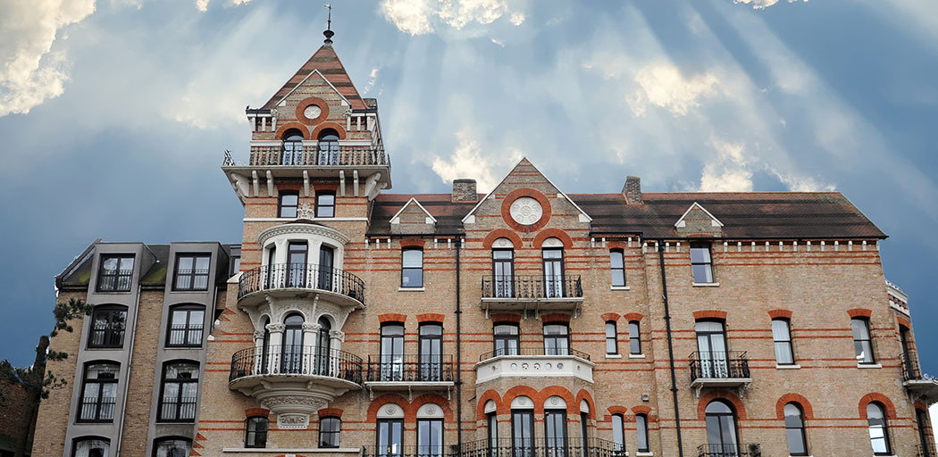 The wonderful luxurious Gothic Surrey wedding venue The Petersham Hotel in Richmond with it's prime position looking over Petersham Fields and The River Thames