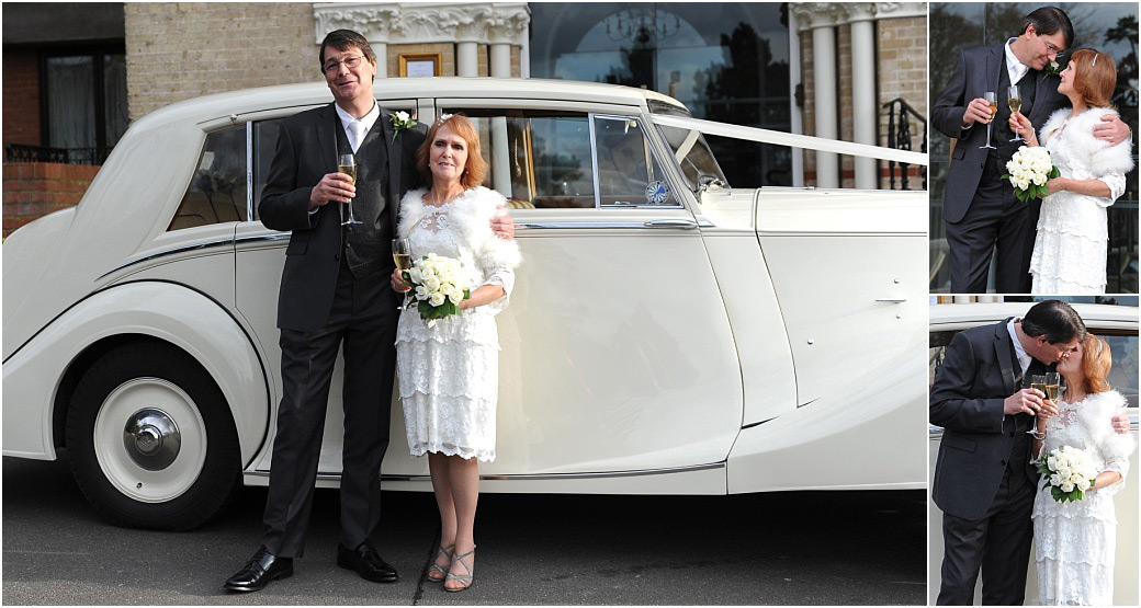 Wedding pictures of the Bride and groom standing outside Surrey wedding venue The Petersham Hotel Richmond by their lovely classic white Rolls Royce with champagne and kissing