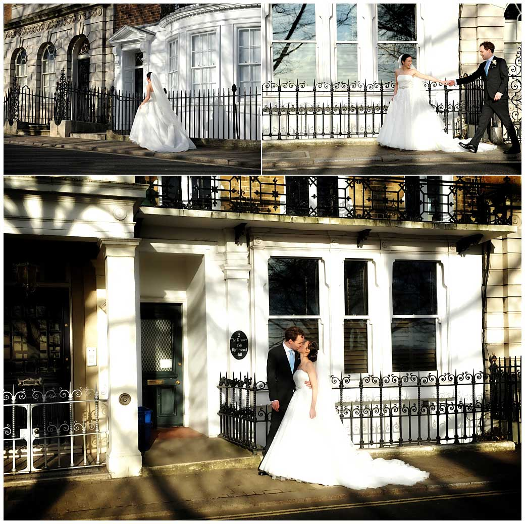 Bride and groom walking together on Richmond Hill on their way to get the fabulous views from the famous Terrace near The Petersham Hotel Surrey wedding venue