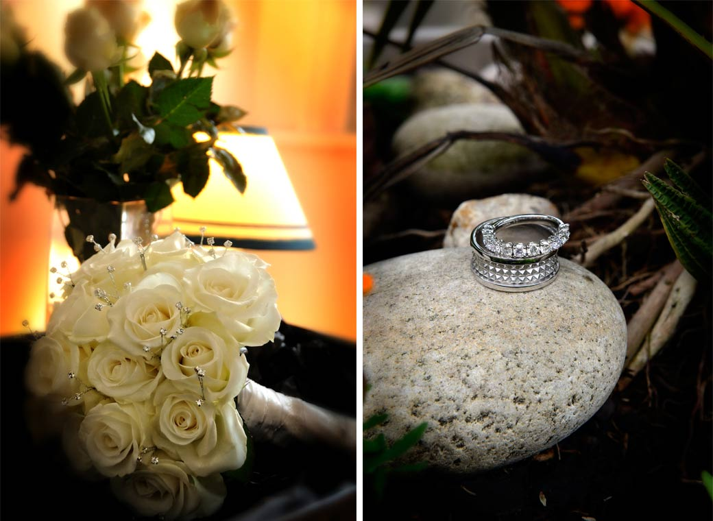 Eye catching rings on a stone and on fingers wedding photos taken in Richmond Surrey wedding venue The Petersham