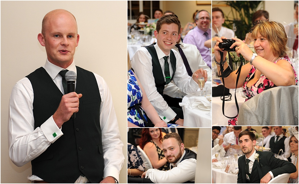 An entertaining best man draws the attention and smiles from the guests captured at Surrey venue Warren House during the wedding speeches in the Persian Dining Room