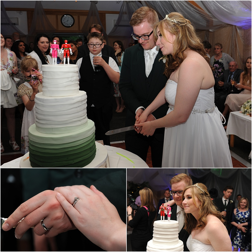 Fun time for these happy newlyweds as they cut their wedding cake with it's unusual cake topper at Surrey wedding venue Warren House in the spacious London Room