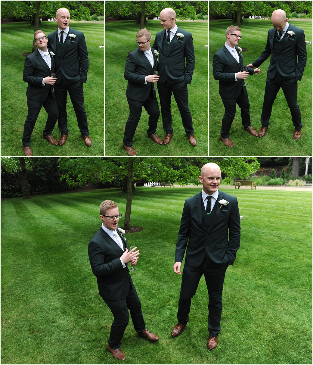 Groom and Best man do a strange and very funny Alan Partridge like dance routine on the lawn at Warren House a hidden gem of a wedding venue in Kingston Surrey