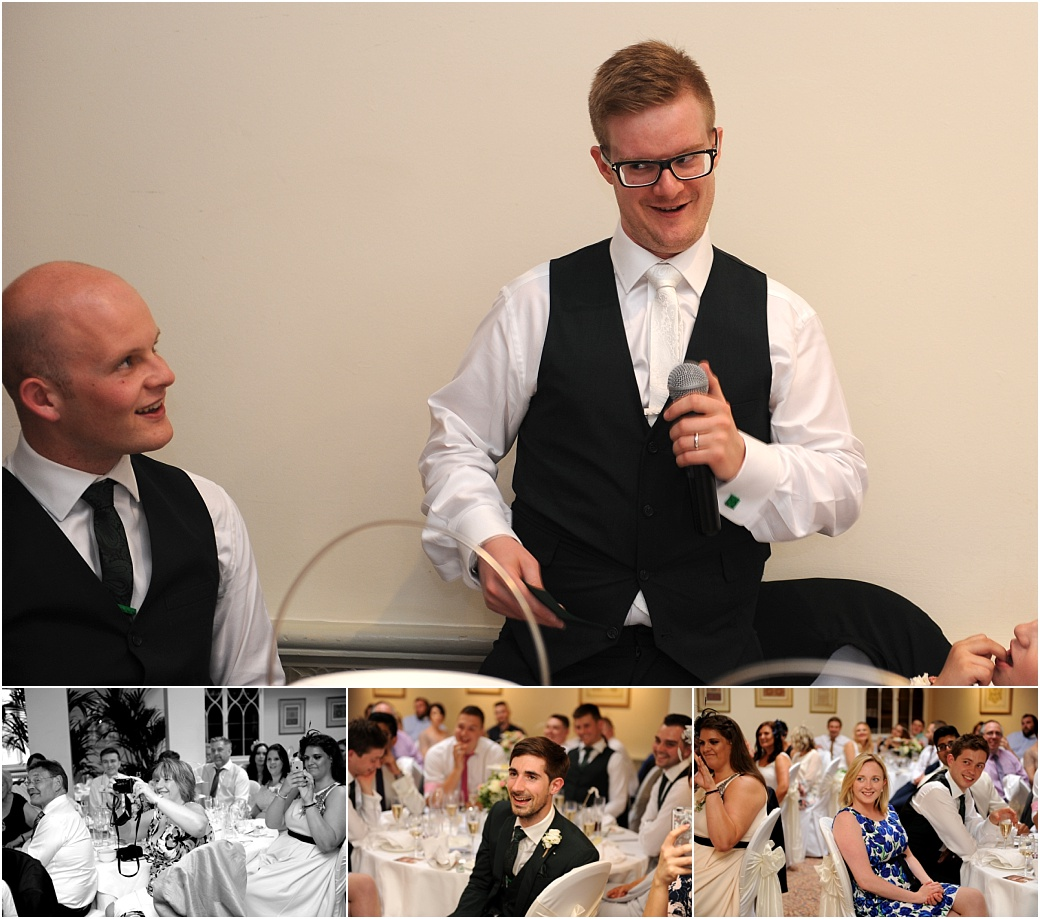 Groom takes the stage in entertaining the guests during his fun wedding speech captured in the Persian Dining Room at the grand Warren House in Surrey Richmond Upon Thames