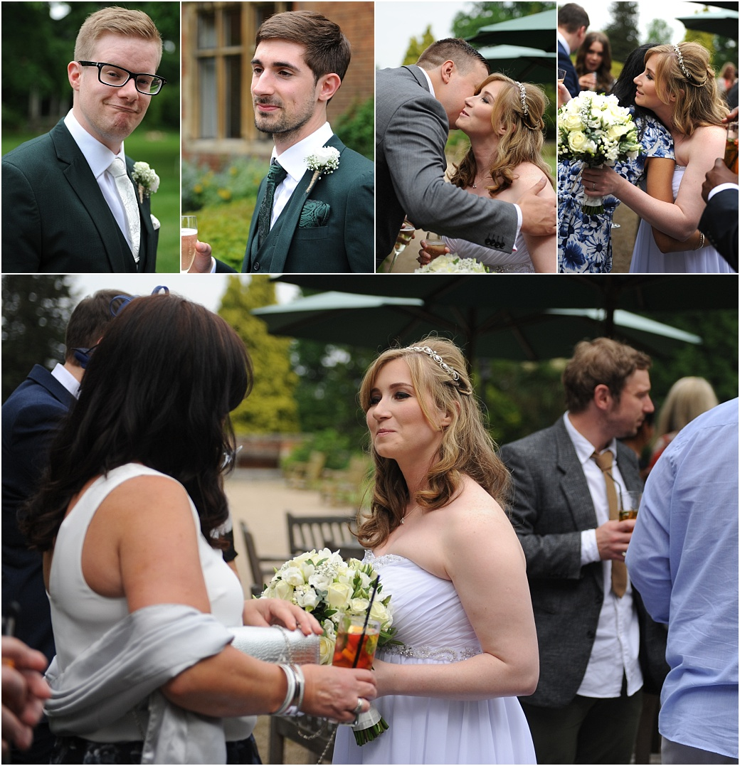 Bride and groom enjoying themselves with champagne and meeting guests after their marriage at the hidden gem of a Surrey wedding venue Warren House in Kingston