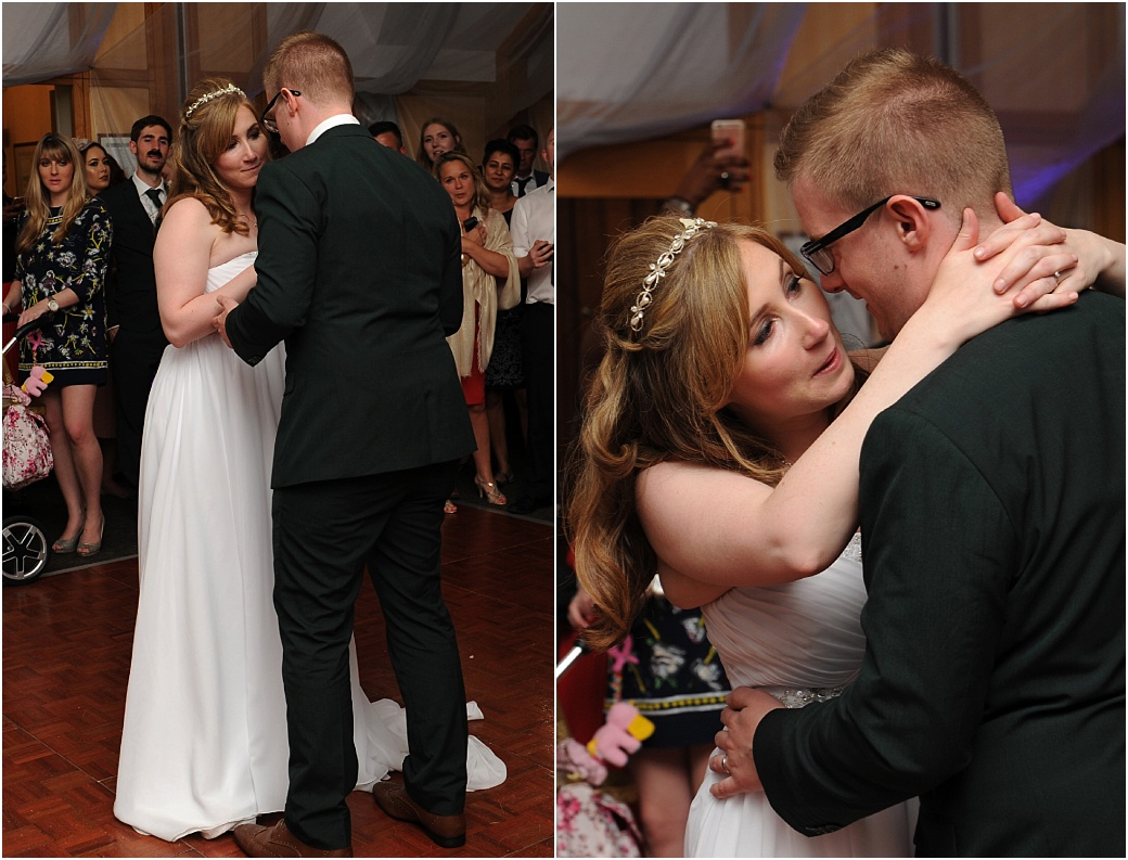 An emotional Bride enjoying the company of her Groom as they have the first dance in The London Room at Surrey wedding venue Warren House  in Kingston Upon Thames
