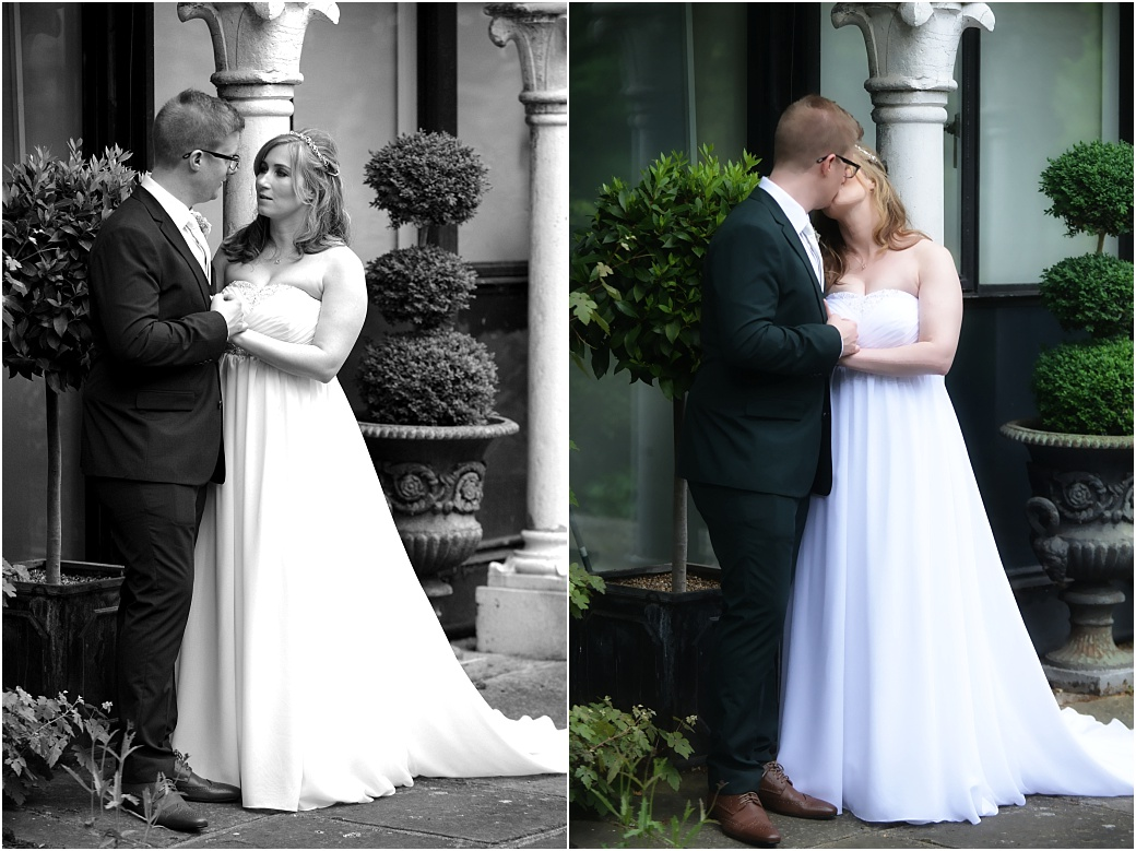 Loving words and a kiss captured in these romantic wedding photographs taken in Warren House Kingston Surrey in the lovely tranquil grounds during the reception