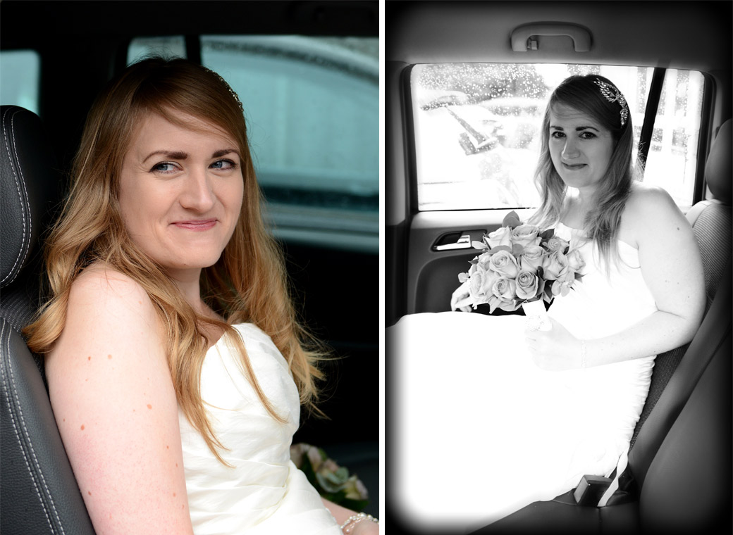 A smiling Bride sitting in the bridal car ready to get married at Weybridge Register Office captured in the sweet wedding pictures captured by Surrey Lane wedding photography