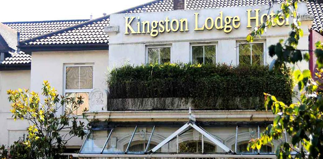 A picture of the front of the Surrey wedding venue of Brook Kingston Lodge Hotel in its distinctive gold letters